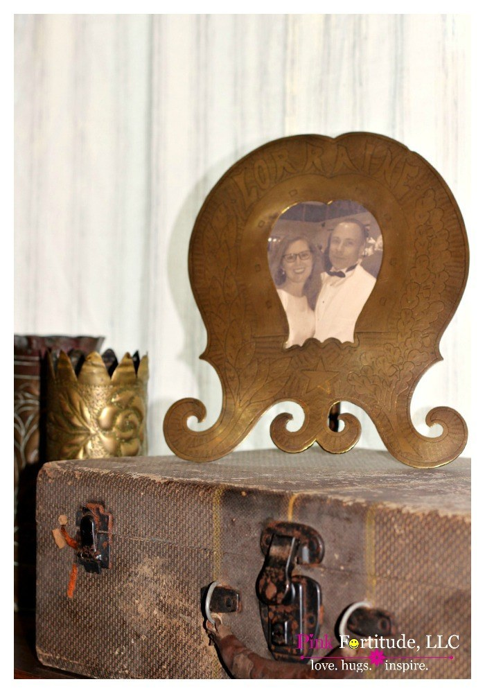 Vintage Trunk and French Trench Art Vignette. This will be one of the most unique displays you will ever see. We took Hubby's old trench art, sourced some picture frames to match, and an old vintage trunk, and you will never believe the end result!