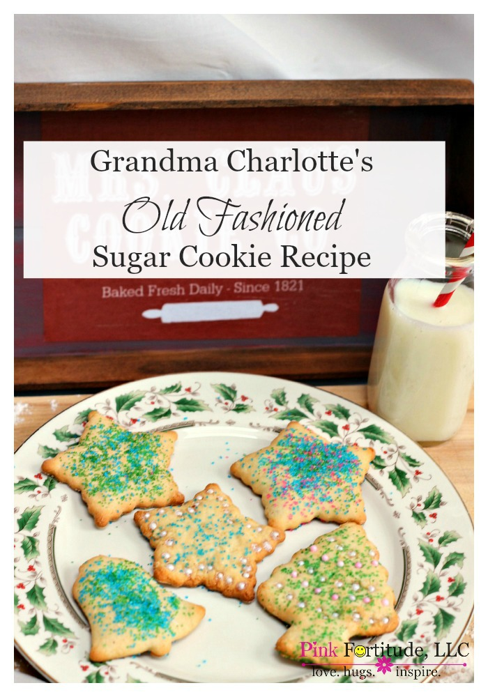 Grandma Charlotte's Old Fashioned Sugar Cookie Recipe by coconutheadsurvivalguide.com My Grandma Charlotte passed at Christmas time when I was a baby. It was hard on my Mom, but we made her sugar cookies every year to honor her memory. This is the REAL DEAL. It's not some fancy schmancy dough in a bag that is artificially made to create the most perfect Martha-Stewart-Pin-Worthy cookies. It's old-timey dough and an old-timey recipe.