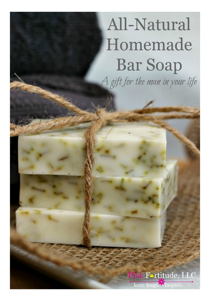 "Father's Day... Birthday... Christmas... does the special man in your life really want another tie as his token present? I think not. This all-natural homemade bar soap is a perfect gift for the man in your life - regardless of the occasion. It has the perfect combination of ""man-scent"" and skin nourishing moisturizers. It's all natural, does not contain any lye - and oh by the way - takes all of 5 minutes to make!"