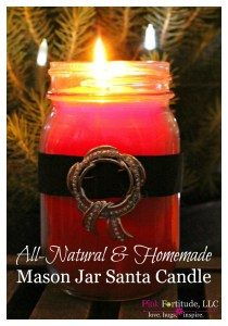 All Natural Homemade Mason Jar Santa Candle