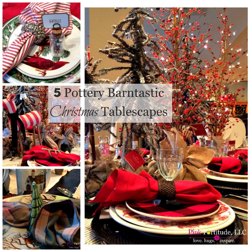 As much as I roll my eyes at the commercialism of Pottery Barn, there is something magical about walking into their store at Christmas.  The lights, the colors, the displays... and the tablescapes!  I don't think there is another store on the planet who can tablescape better than Pottery Barn.  Here are the highlights from 5 festive Pottery Barntastic tablescape displays.