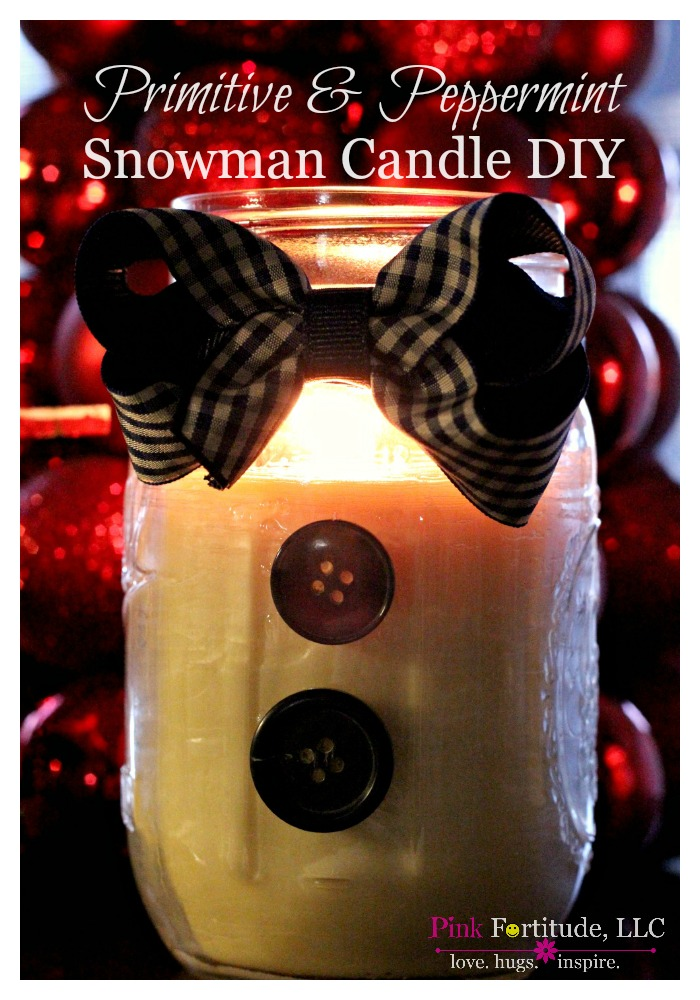I loved how the Santa Candle turned out, so I wanted to try making a snowman candle.  I thought he would be cute in a Mason Jar, with a bow tie and some buttons.  And what better fragrance than peppermint for this snowy scented guy?  He's primitive AND peppermint snowman candle. Ladies watch out!