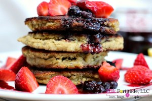 Lemon Matcha Pancakes with Acai Berry Compote – GF/V