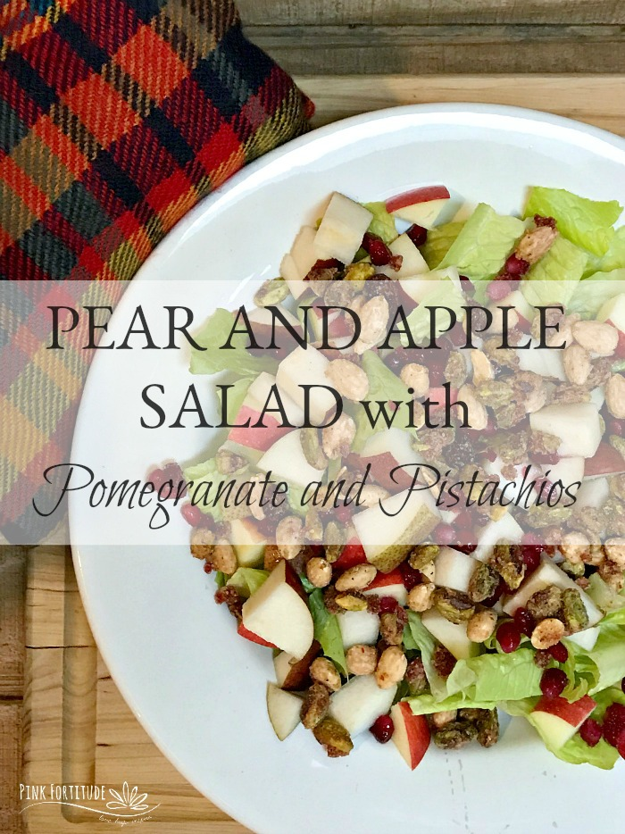 The air is cool and crisp, friends are gathered around the table, and the outdoor fire is keeping everyone warm. This pear and apple salad is complimented with pomegranates, pistachios, a delicious dressing, and a surprise topping that makes this dinner salad a guest-worthy show-stopper. You'll want to make the recipe tonight...