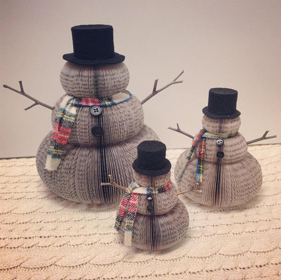 Upcycled Book Snowmen