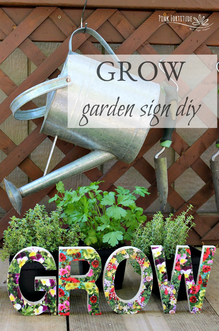 Sometimes the garden needs a little pizzaz. Grab your Mod Podge and I'll show you how I made this super cute grow garden sign. The DIY is easy and if your kids are bored, it's a fun project for them to help with. Check it out!