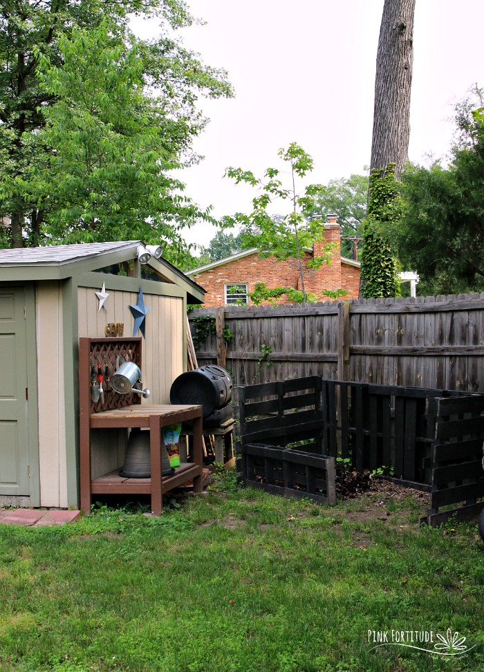 It took awhile for my family to commit to composting. Once we jumped on the train, I was excited to get started, but then realized we would need a space for a compost bin. We carved out the perfect nook in our backyard. This DIY is made with pallets, is 100% upcycled and eco-friendly, and Stepson even helped to get a Boy Scout merit badge. It's the perfect solution for our growing compost and super easy for you to replicate. Check it out!