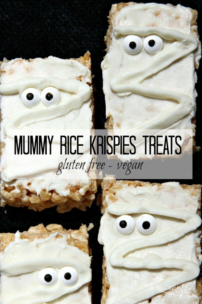 How stinkin adorable are these Mummy Rice Krispies Treats? Wait... they are gluten free and vegan?  AND easy to make? Surely you jest! Yes, my friends, it IS possible! All you have to do is know how to substitute your old favorites with your new favorites. These treats are the perfect Halloween treat for kids of all ages. So whether you call them Rice Krispy Treats, Rice Krispies Treats, or Rice Crispy Treats, you will never know the difference with this gluten free and vegan version. And no worries about scaring anyone at Halloween with processed and scary ingredients! Get the recipe... #glutenfree #vegan #recipe #halloween #pinkfortitude