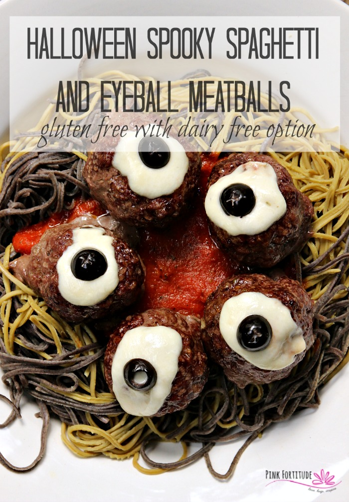 Who says Halloween dinner can't be spooky, festive, AND healthy? Serve this Halloween Spooky Spaghetti and Eyeball Meatball recipe to your family and friends. You can even call it brains and eyeballs if you wish. This Spookghetti is made with gluten freepasta and meatballs, and even has a dairy freeoption. Kids of all ages will love it! Get the recipe if you dare... #halloween #spaghetti #pasta #recipe #glutenfree #pinkfortitude