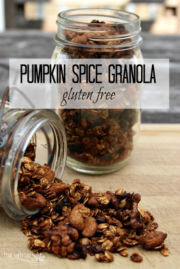 It's that time of year, where it's pumpkin spice everything, and this granola recipe will turn pumpkin spice lovers into complete addicts. Can you keep a secret?  It's healthy for you.  Shhhh..... don't tell! #pumpkin #pumpkinspice #granola #recipe #pinkfortitude