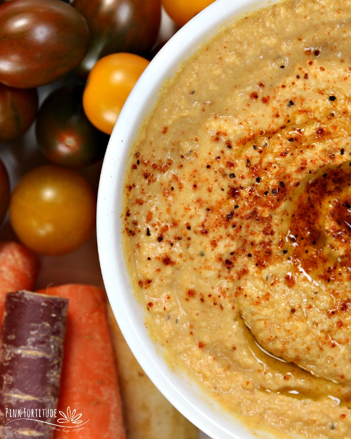 Many people think about sweet treats and #PSL during pumpkin season. There are so many different flavor options for this orange squash. This Smokey Chipotle Pumpkin Hummus is sure to please. The smokey chipotle flavoring takes this pumpkin flavor to a whole new level. Use it as an appetizer for your autumn party, during game day, or even as a spread on your favorite sandwich. It's gluten free and vegan of course, and keto friendly in moderation. Get the recipe... #pumpkin #hummus #recipe #appetizer #pinkfortitude