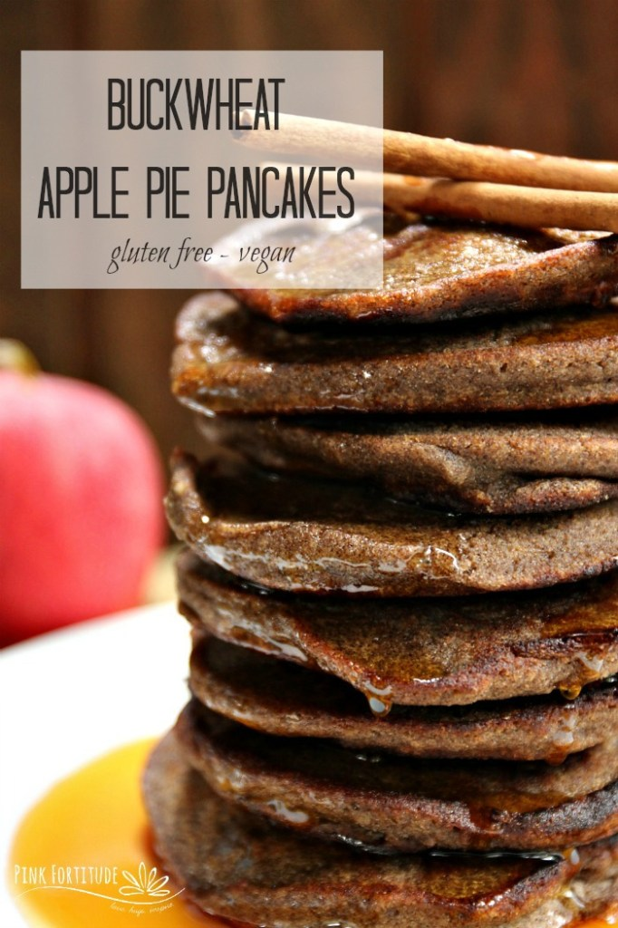 What's better than apple pie? How about apple pie pancakes? These pancakes are made with buckwheat, which is actually gluten free. They are also vegan. And they taste like apple pie. Can you think of anything better than eating a stack of these on a crisp, autumn morning? They're also perfect to serve your holiday guests for breakfast or brunch. Get the recipe... #applepie #pancake #glutenfree #pinkfortitude