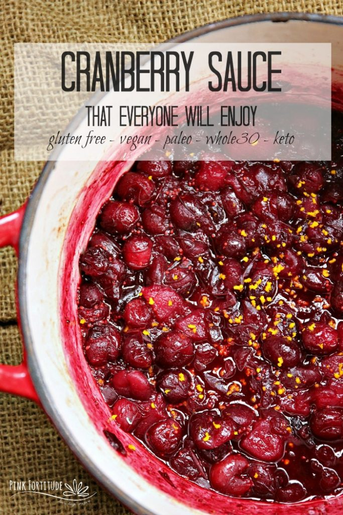 The debate over the cranberry sauce - canned or homemade? Seriously? This cranberry sauce recipe is one that everyone will love. It's naturally sweet and is gluten free, vegan, and Paleo, with one little switch to also make it Whole30 and keto.  Nothing to argue about here! Except maybe if you call it cranberry sauce or cranberry relish. Get the recipe... #thanksgiving #wholefoods #organic #recipe #pinkfortitude