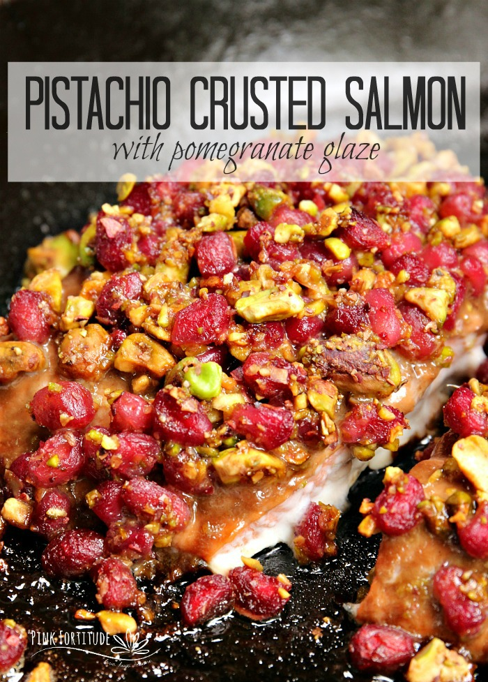 This pistachio crusted salmon recipe is a sight to behold. If you are looking for something stunning to serve to guests, an alternative holiday dinner, or participate in the Italian Feast of the Seven Fishes, this salmon recipe is not only gorgeous to serve, but is absolutely delicious and healthy. You will score points as a gourmet chef! PS - it's super quick and easy to make. It will be our little secret. Get the recipe... #salmon #pomegranate #recipe #pinkfortitude