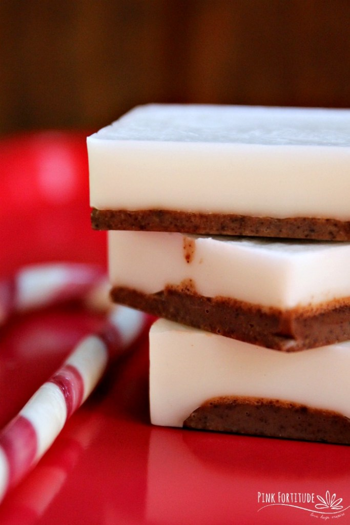 This peppermint bark soap is perfect for the holidays! It's super easy to make, it smells AH-MAZING, and the raw cacao provides a little exfoliant. It's perfect for your Christmas or holiday guests, a hostess gift, teacher or neighbor present, and of course to use in every bathroom in your home. It's all natural and does not contain lye. Let's make the DIY...