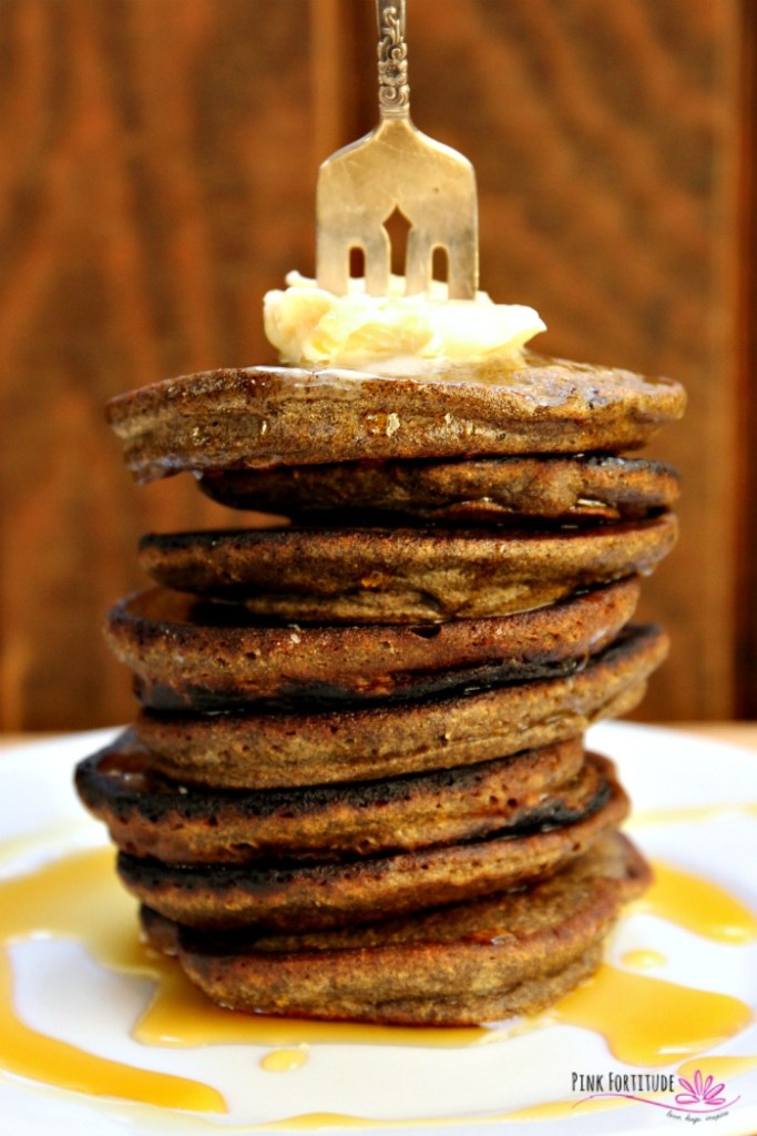 Pancakes are the ultimate comfort food. They are also a lot offun to eat. I have no idea why, but you can't argue with the facts. I can seriously eat an entire stack. I have no shame. Pumpkin pancakes - do they get any better? How about these Buckwheat Pumpkin Pancakes which are both gluten-free and vegan. It's breakfast perfection. #pumpkin #pinkfortitude