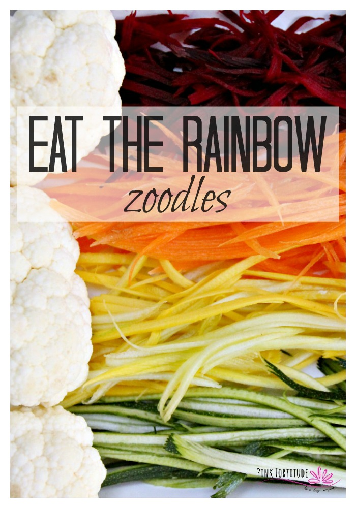 Yes, we all know that we should replace our pasta with zoodles because veggies are healthier. Eat the rainbow! Enjoy these rainbow zoodles any night of the week, to feed a crowd at a St. Patrick's Day party, or a rainbow themed party. It's naturally gluten-free, vegan, Whole30 compliant, Paleo and Keto. Fun... colorful... healthy... what's not to love!