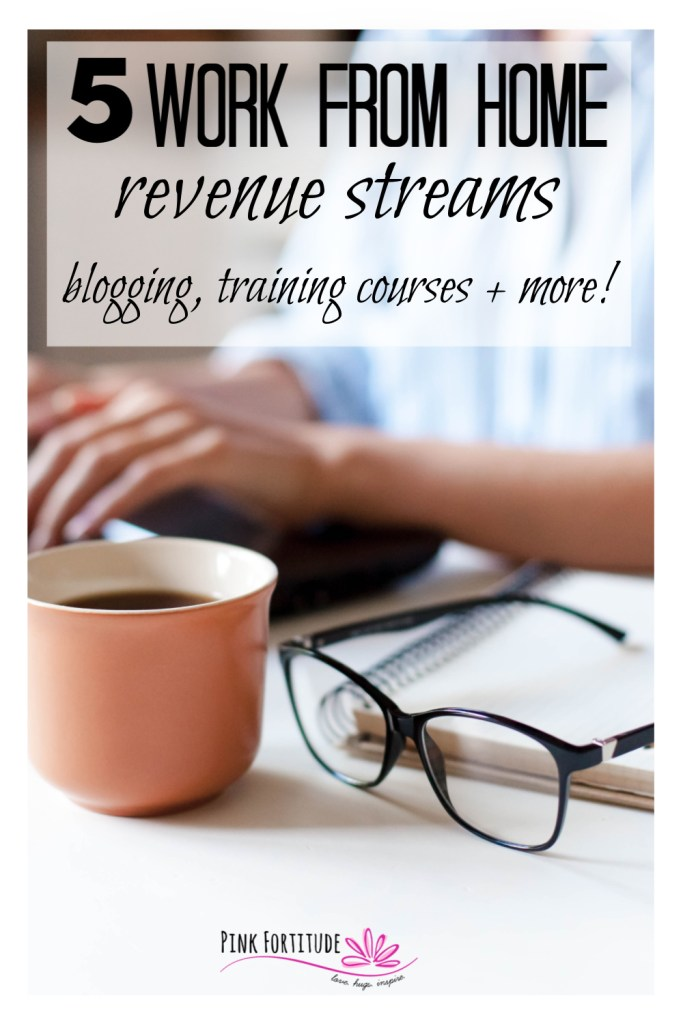 There are many reasons you may want to work from home. Whether it's a side-hustle, you're a stay at home mom and want to spend more time with family, or you have a chronic illness. lost your job, or want to provide more income for your family, it's a lot of work but equally as rewarding. Here are my own 5 revenue streams and corresponding resources that you may want to consider as you are starting out - including blogging and creating training courses.