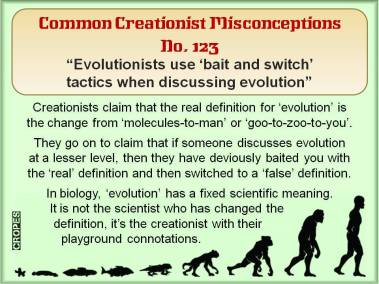 Evolutionists use 'bait and switch' tactics when discussing evolution.