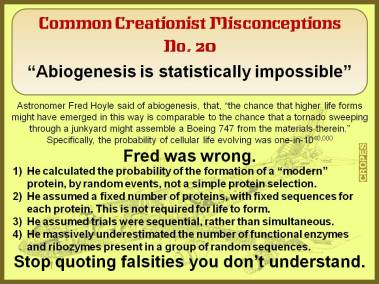 Abiogenesis is statistically impossible