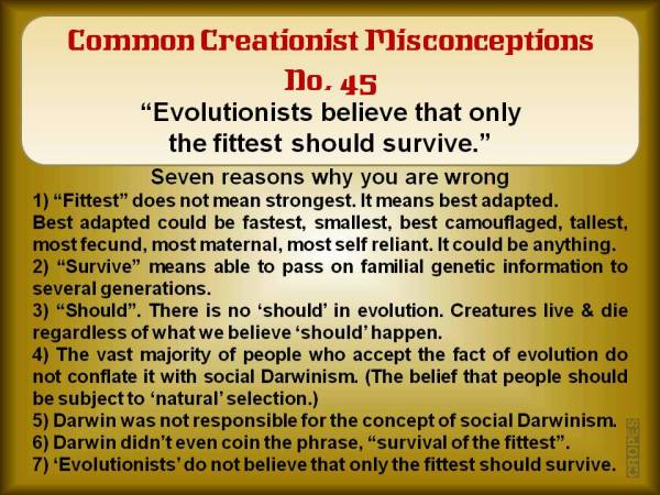 Evolutionists believe that only the fittest should survive.