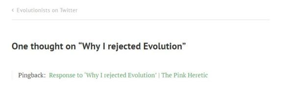 Pingback of link to David Article Blog post Why I rejected Evolution