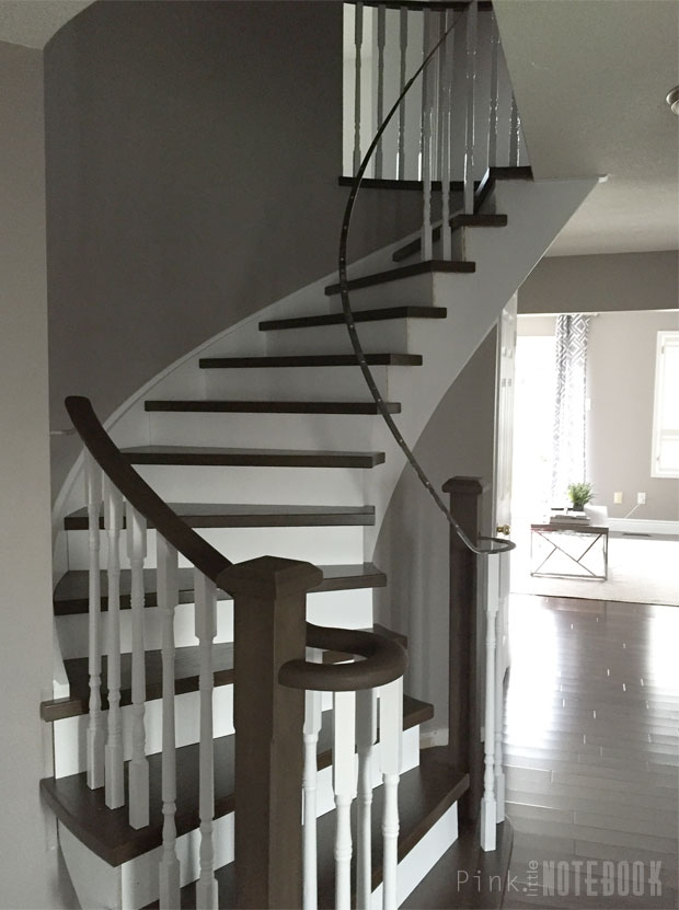 Curved Staircase Remodel Before After Pink Little   Diy Curved Stair Railing   Spiral Staircase   Glass   Staircase Makeover   Stair Case   Railing Ideas