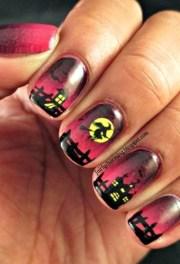 halloween nail design - pink