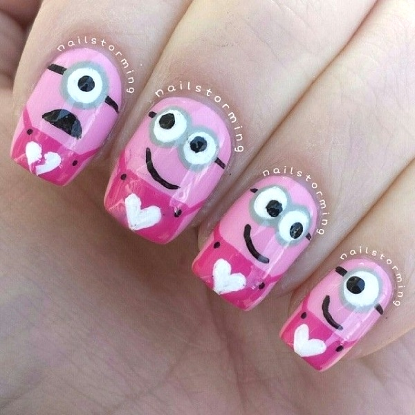 Nails On Which Teddy Bears Drawn Pink Nail Art Manicure Ideas For Valentine S Day