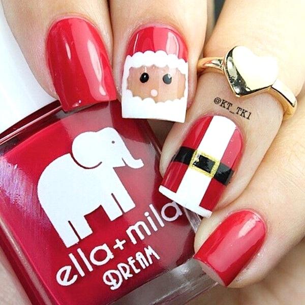 Image Source Santa Hat Christmas Nail Art