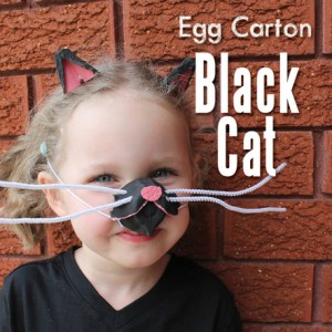 Black cat egg carton dressing up