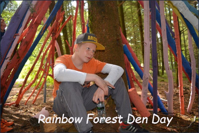 rainbow forest den day celebrating 30 years of the Sculpture Trail Trust at the Forest of Dean Gloucestershire