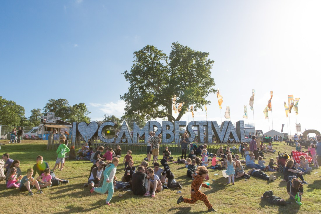 Camp Bestival Sign and Crowds