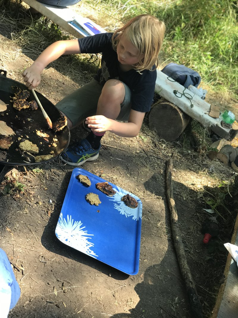 cooking in the open at forest school