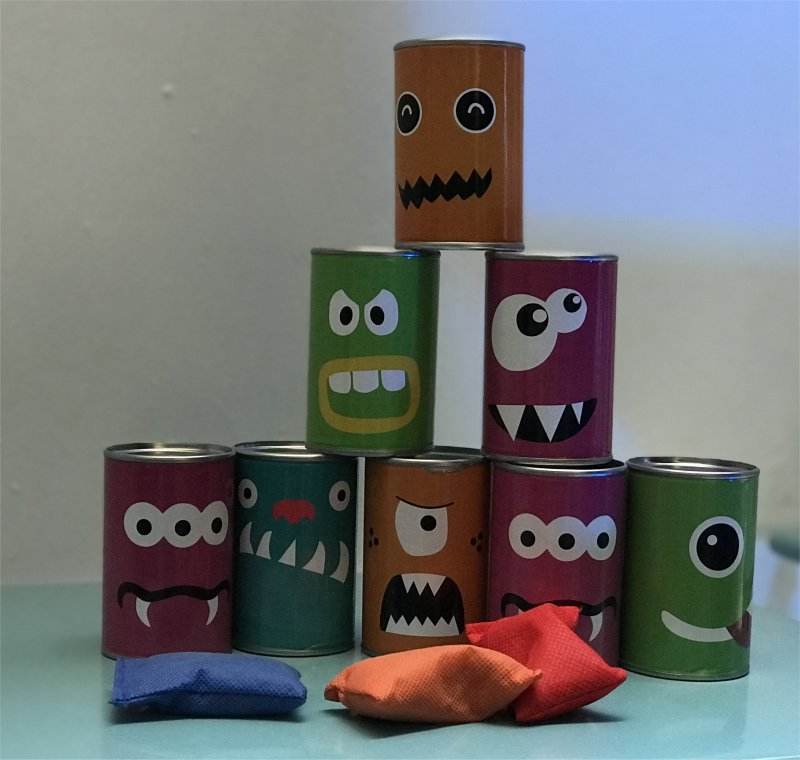 tin cans with teeth and bean bags