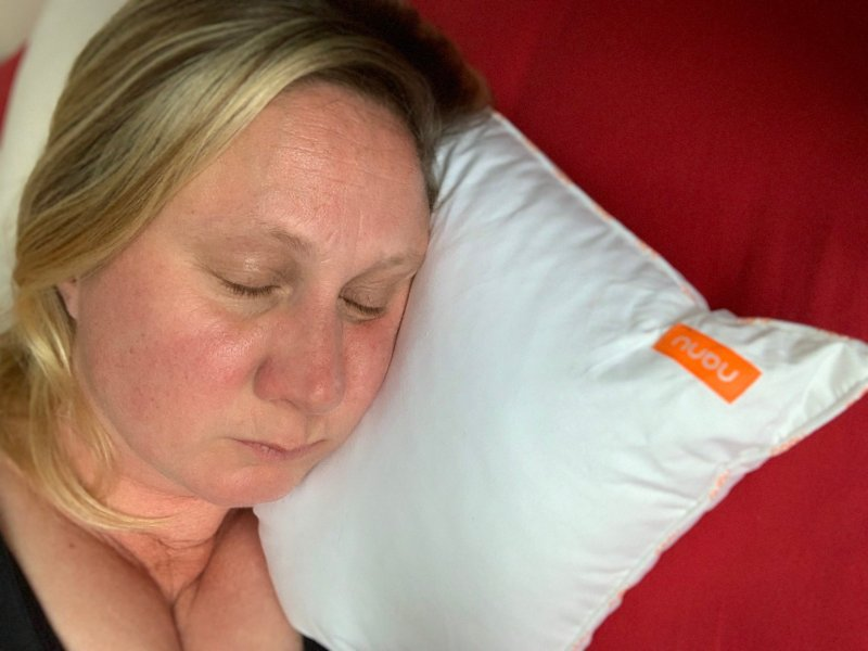 woman sleeping on personalised nanu pillow