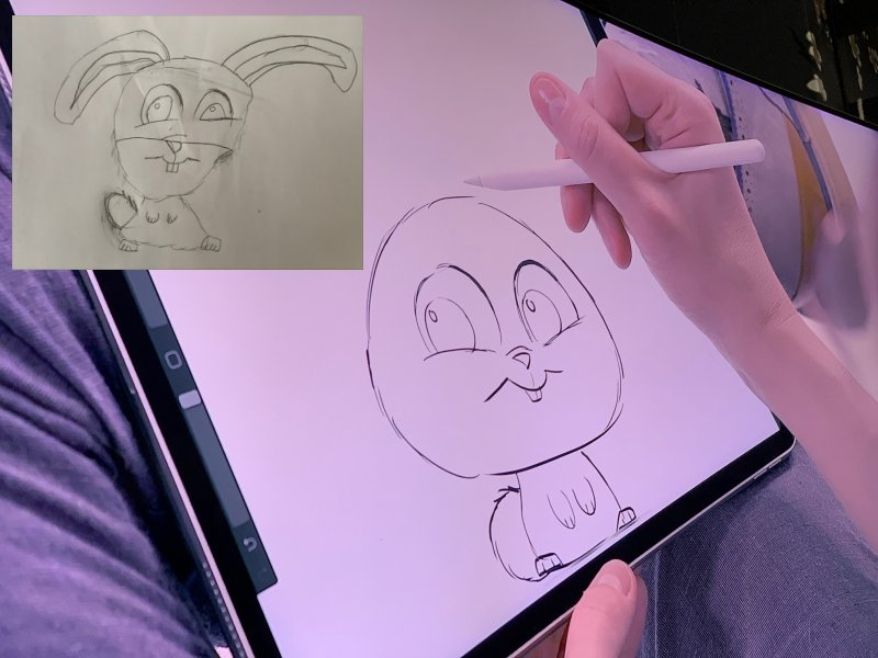 Drawing of Snowball Rabbit from Secret Life of Pets 2 and showing step by step guide