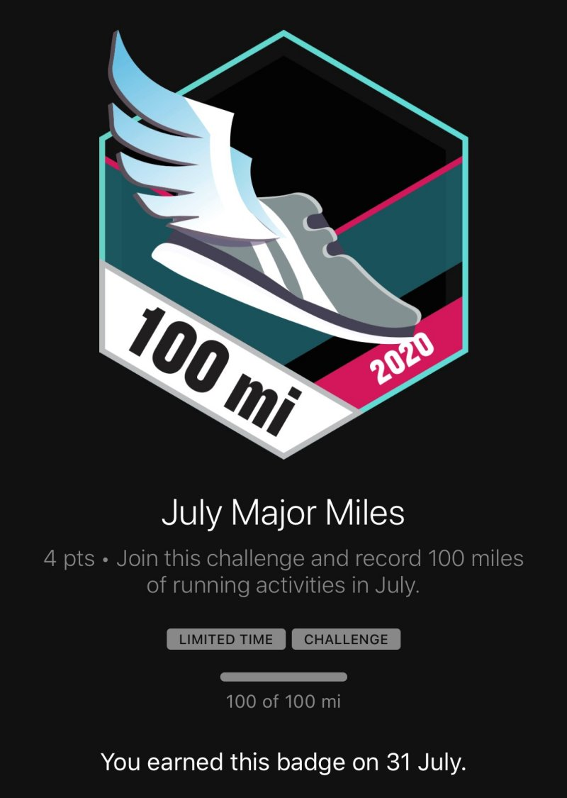 Garmin 100 miles in July badge