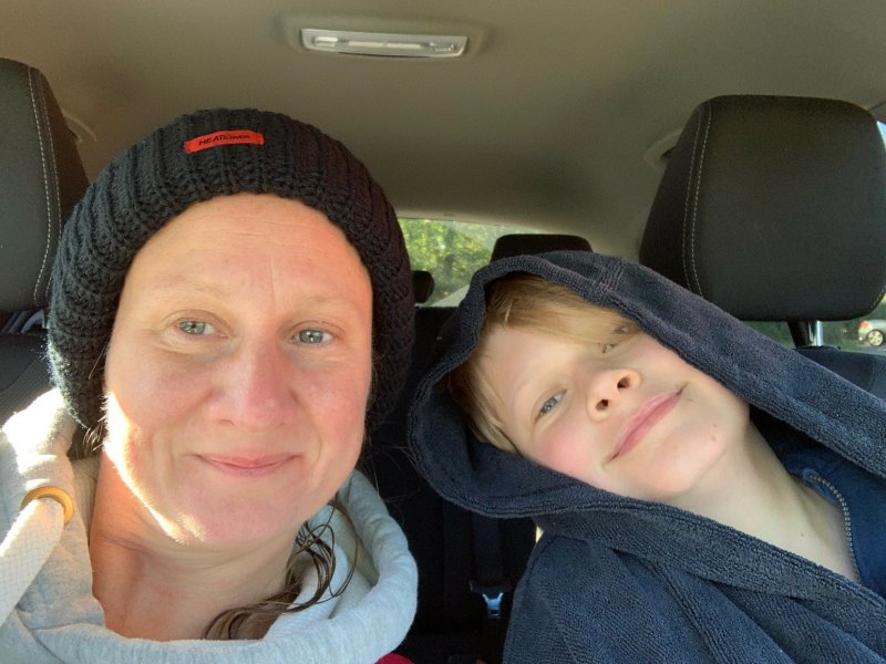 post wild swim mother and son