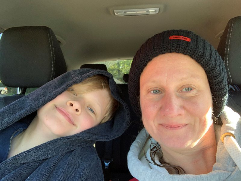 mother and son post river swim picture