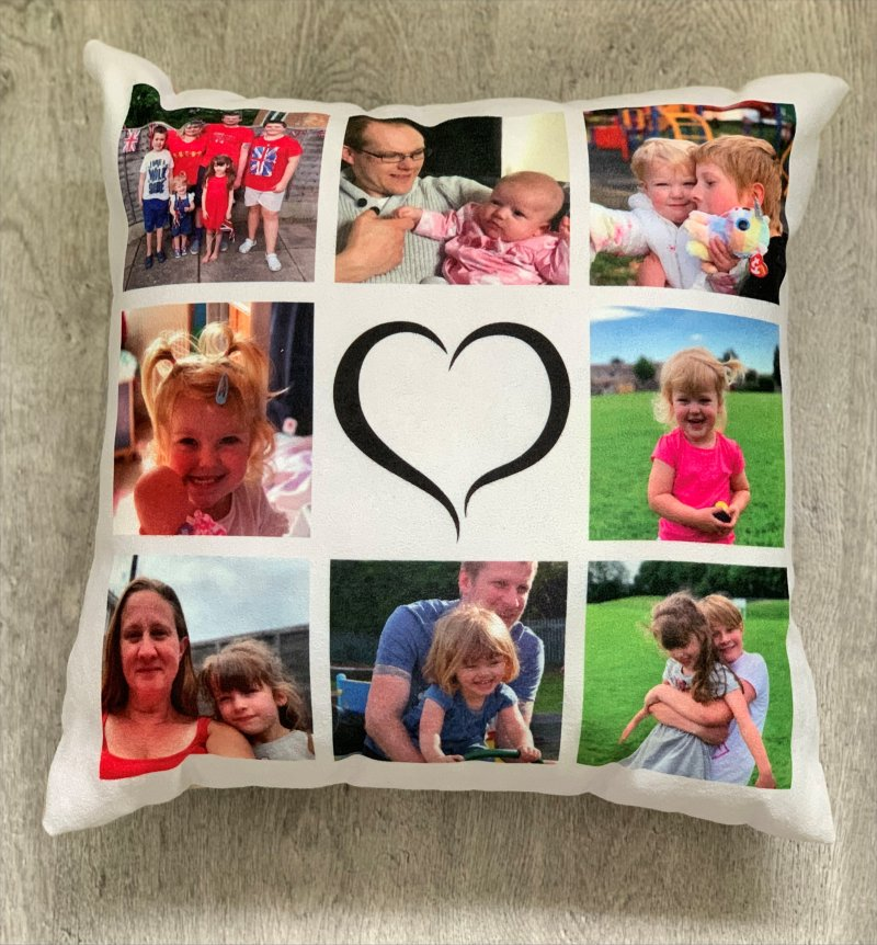 Photo cushion with heart in the middle