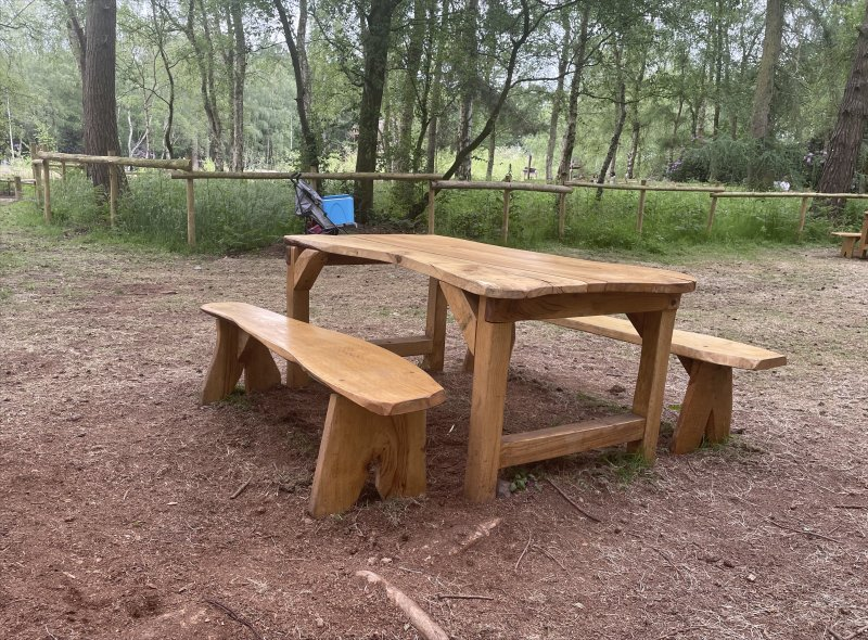 Table and Benches at BeWILDerwood Cheshire