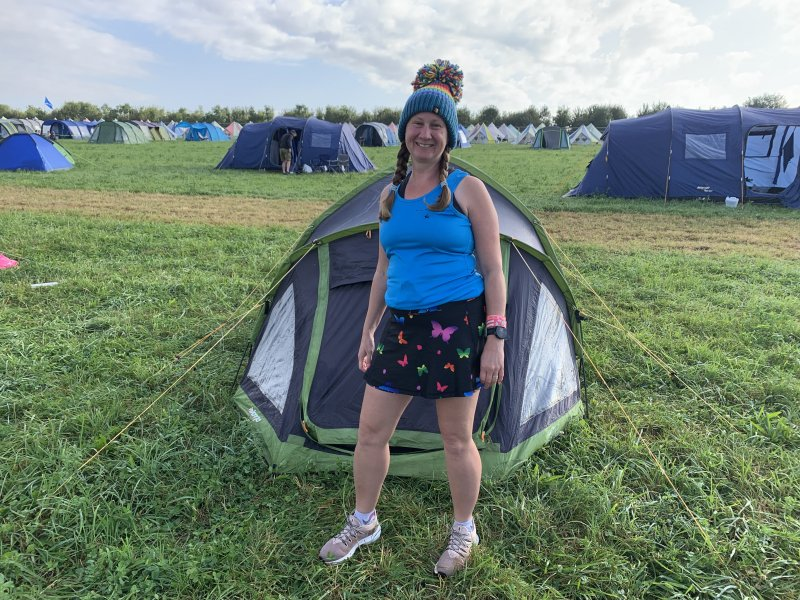 pinkoddy in front of tent at RunFestRun 2021