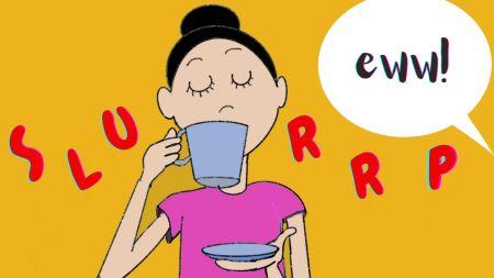 woman slurping tea