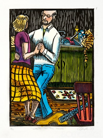 Waltz in the House: Relief Print, Hand-tinted, Edition of 12 Approx. 7″h x 5″w