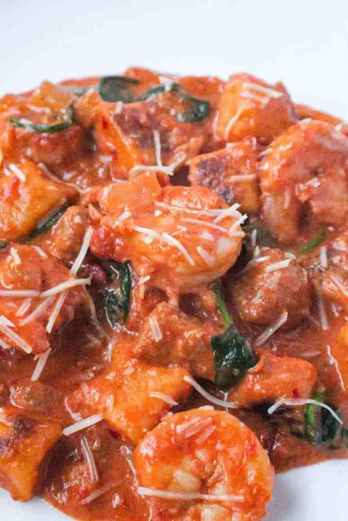 sweet potato gnocchi wiht shrimp