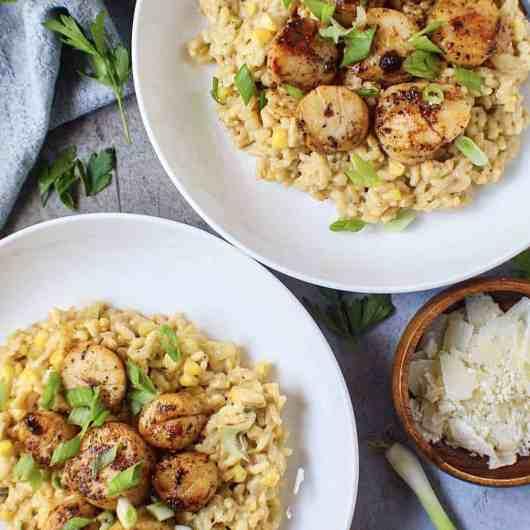 sea scallops over corn risotto