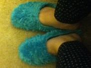 I'm almost constantly wearing slippers. (This is the part where I hope none of you, readers, are weirdos with a foot fetish.)