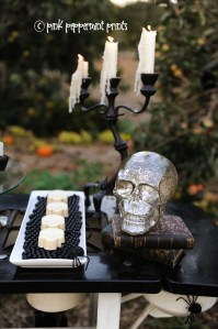 Styled Shoot: Pottery Barn Halloween Party: Bone Appetit Dessert Table