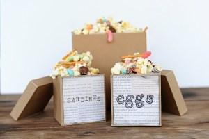 The Boxtrolls Family Movie Night: Popcorn Snack Mix Recipe and Party Craft Idea